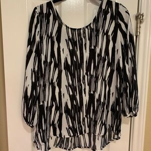 Black and white bow blouse